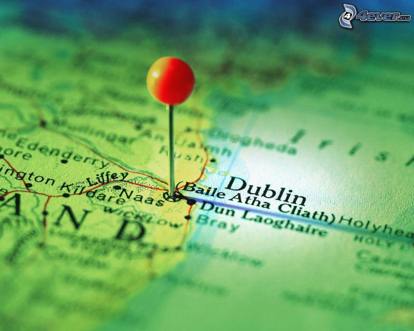 mapa, Dublin, szpilki