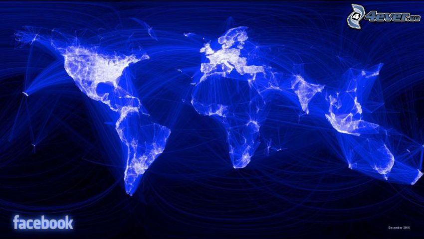 mapa, zabawa światłem, facebook