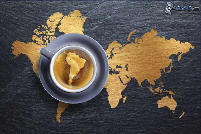 mapa świata, filiżanka kawy, Ameryka Południowa