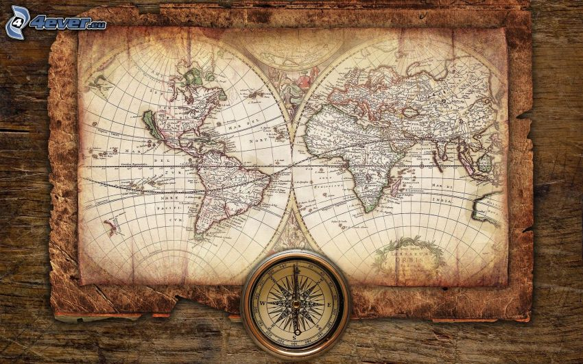 mapa świata, kompas