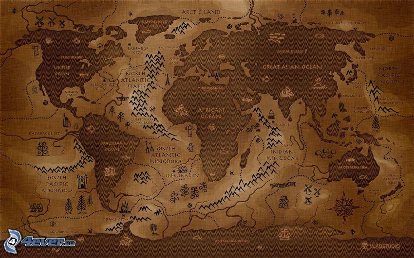 mapa świata, odwrotnie
