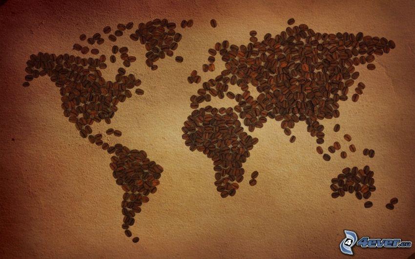 mapa świata, ziarna kawy