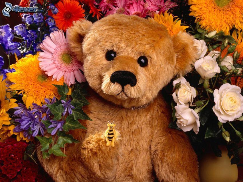 miś pluszowy, kolorowe kwiaty, pszczoła