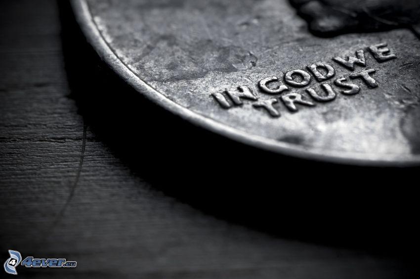 moneta, czarno-białe zdjęcie