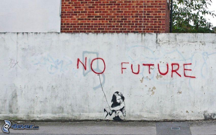 no future, dziecko, graffiti, samotność