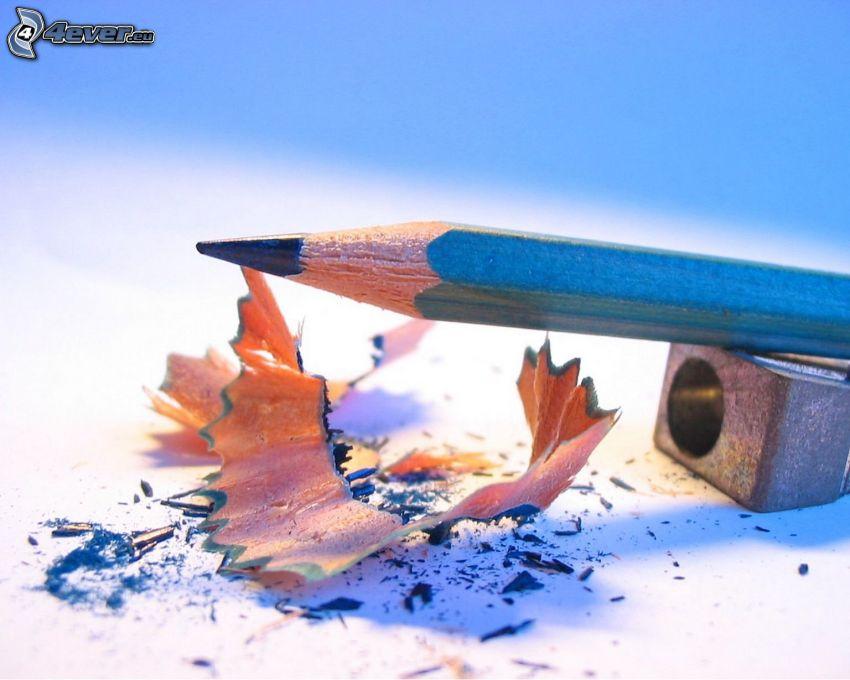ołówek, temperówka, niebieski