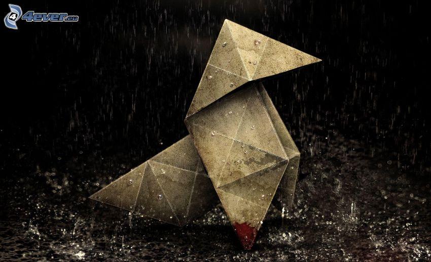 origami, deszcz