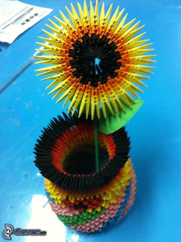 origami, słonecznik, wazon