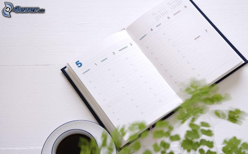 pamiętnik, filiżanka kawy