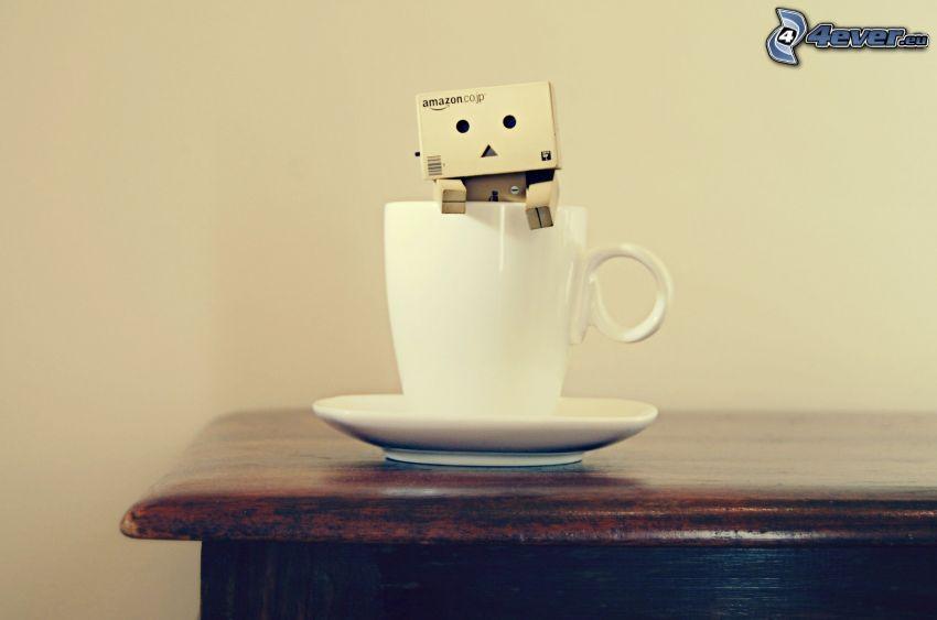 papierowy robot, filiżanka