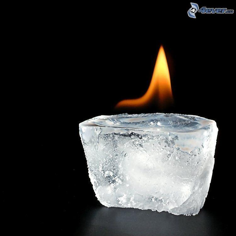 płomień, kostka lodu, świeca