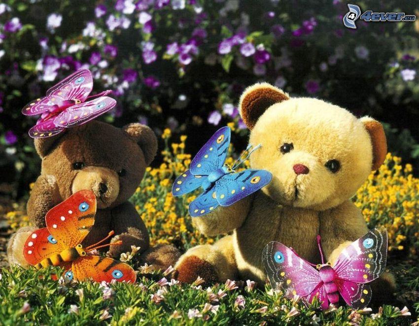 pluszowe misie, Motyle, trawa, kwiaty