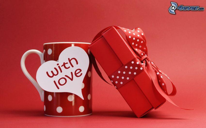 prezent, kubek, love, czerwone tło