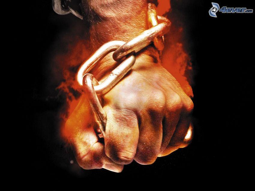 ręka, łańcuch, ogień