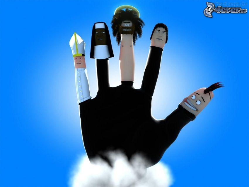 ręka, pionki