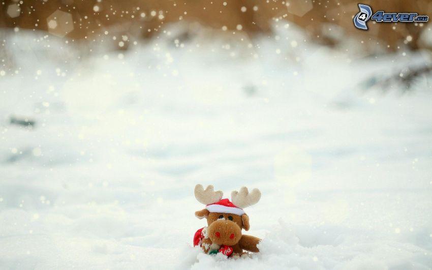 renifer, pluszowa zabawka, śnieg