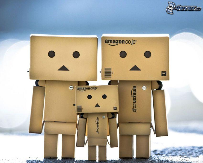rodzina, papierowy robot