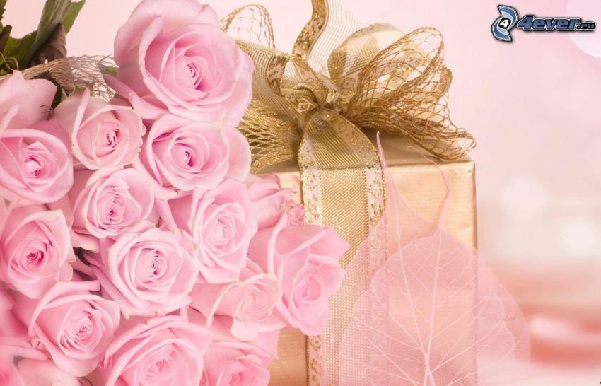 różowe róże, prezent