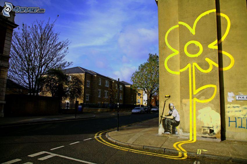 rysunek, żółty kwiat, ściana