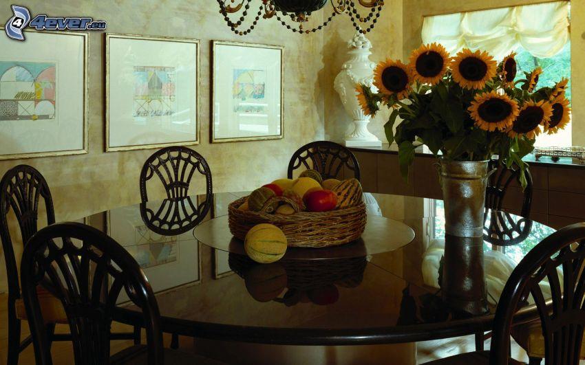 stół, słoneczniki, wazon, owoc