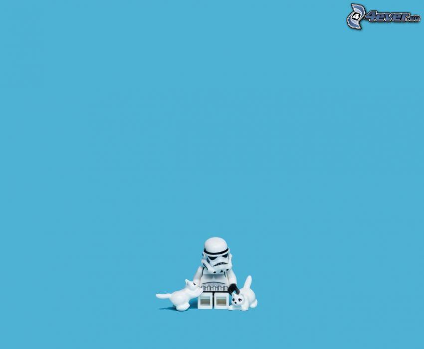 Stormtrooper, figurka, Lego, białe kocięta