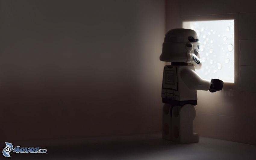 Stormtrooper, Lego, robot, figurka, okno