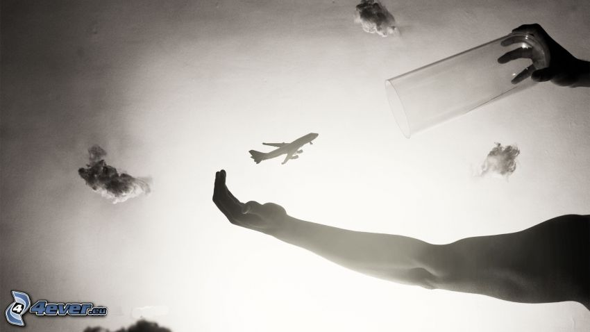 sylwetka samolotu, ręce, szklanka