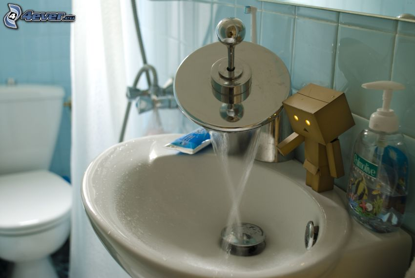 umywalka, papierowy robot, łazienka, kran, WC