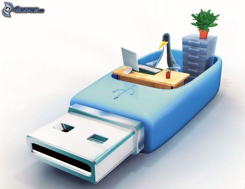 USB, Linux, biuro