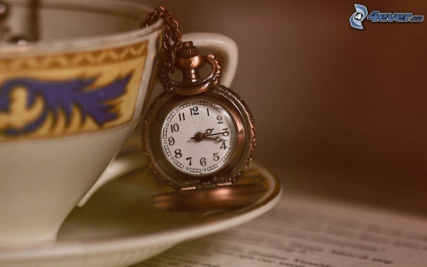 zabytkowy zegarek, filiżanka