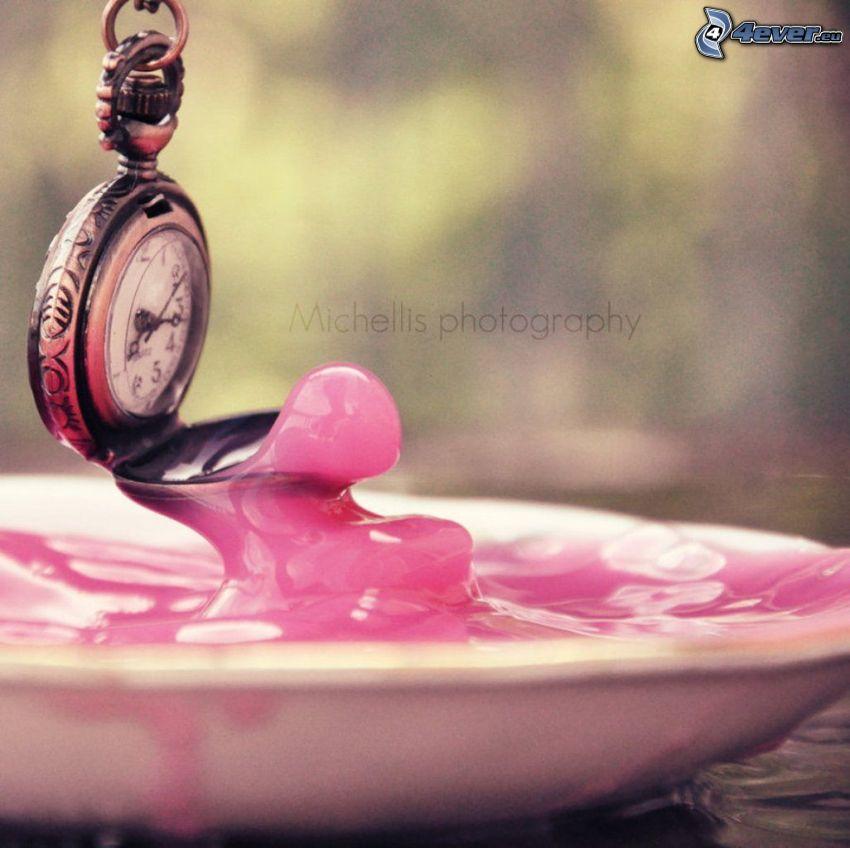 zabytkowy zegarek, wisiorek, kolor różowy