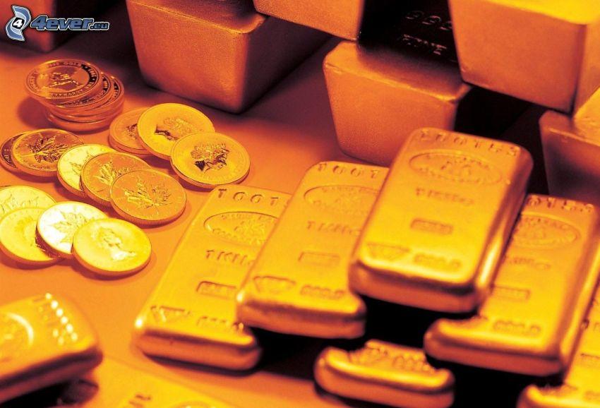 złoto, sztabki złota, monety