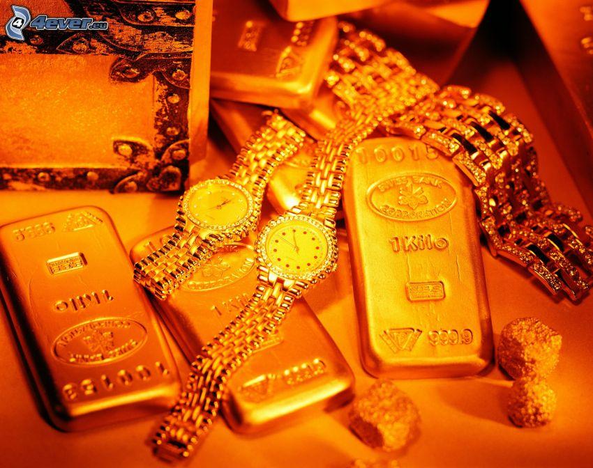złoto, zegarki, klejnot, sztabki złota