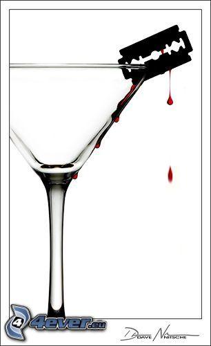 żyletka, szklanka, emo