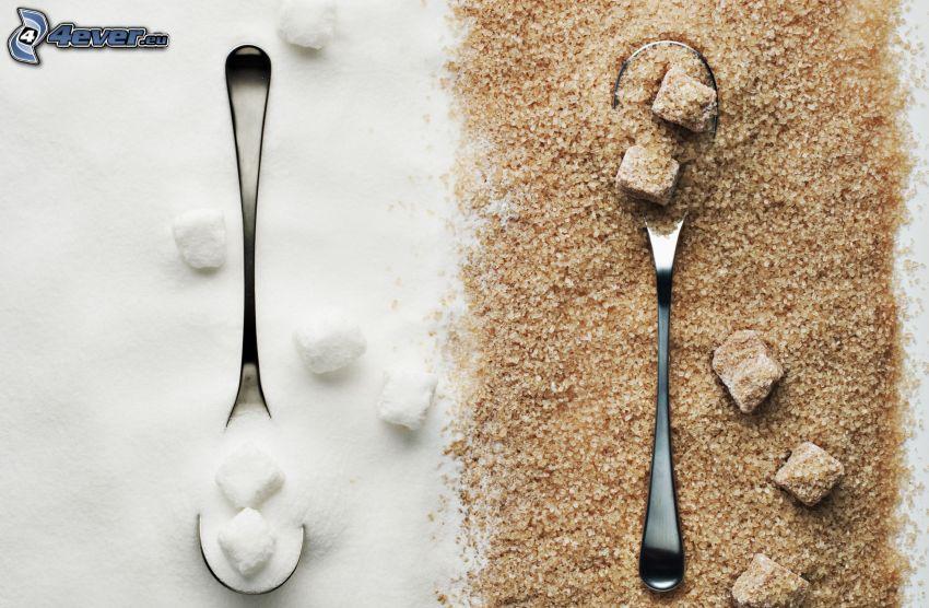 brązowy cukier, kostki cukru, łyżeczki
