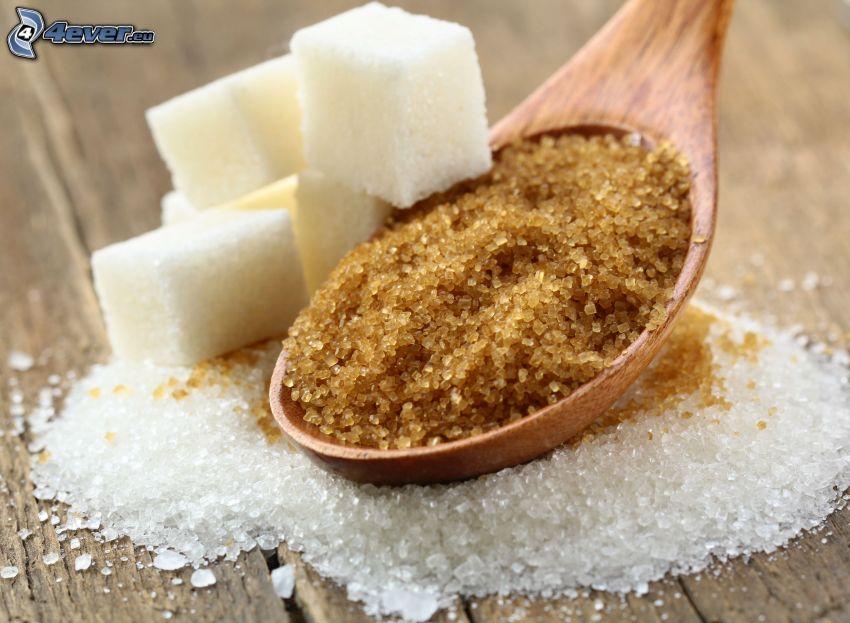 brązowy cukier, kostki cukru