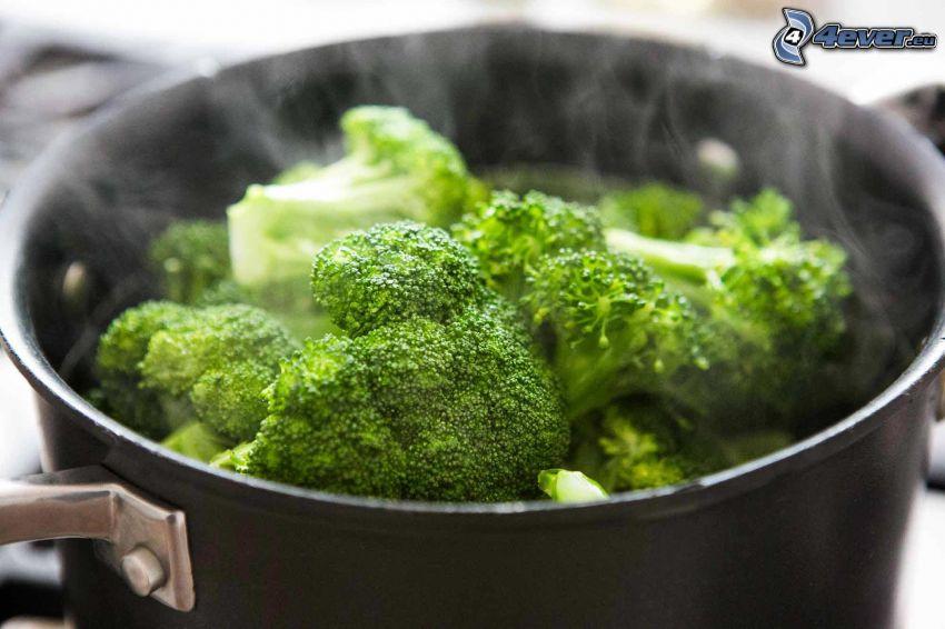 brokuły, garnek