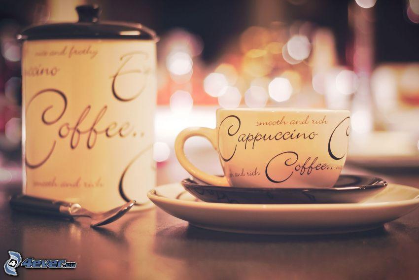 cappuccino, filiżanka, łyżeczka, pojemnik