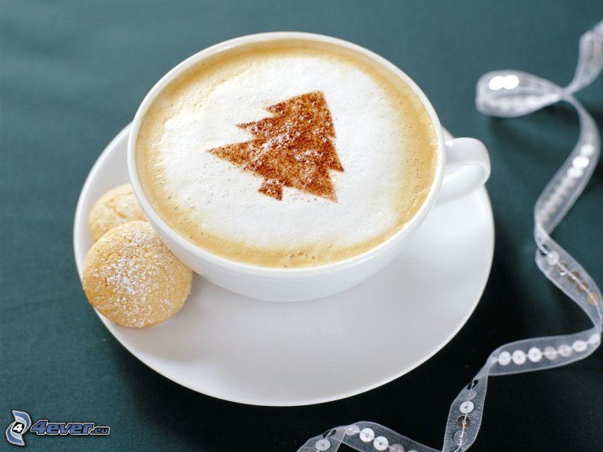 cappuccino, piana, choinka, ciasteczka, wstążka