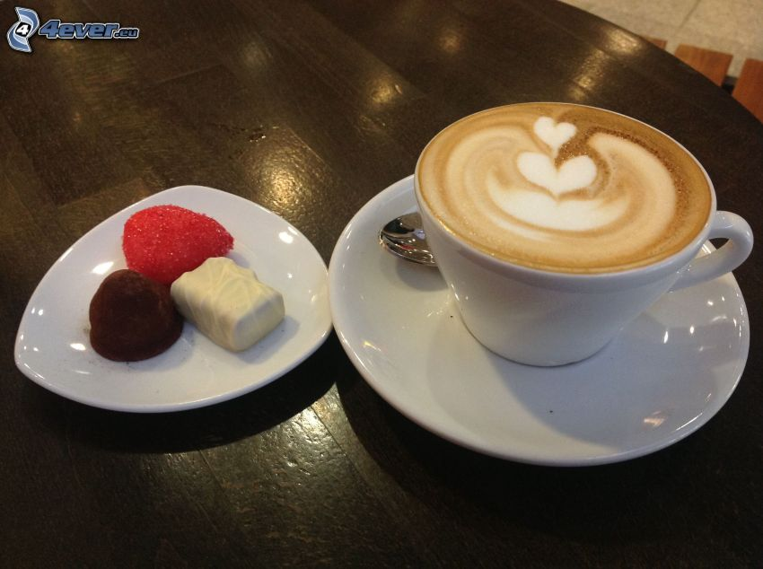 cappuccino, piana, cukierki