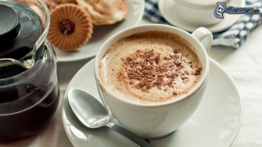 cappuccino, piana, łyżeczka, ciasteczka, kawa