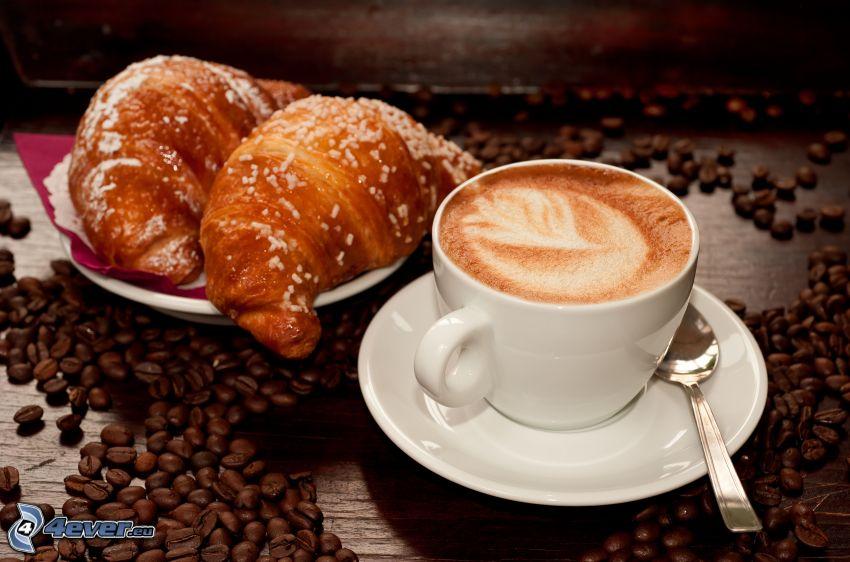 cappuccino, piana, łyżeczka, rogale, ziarna kawy