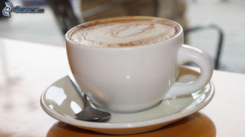 cappuccino, piana, łyżeczka