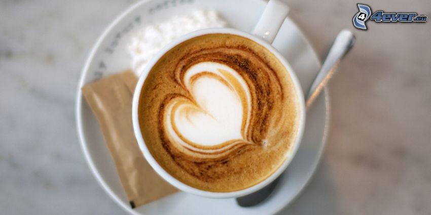 cappuccino, piana, serduszko, łyżeczka