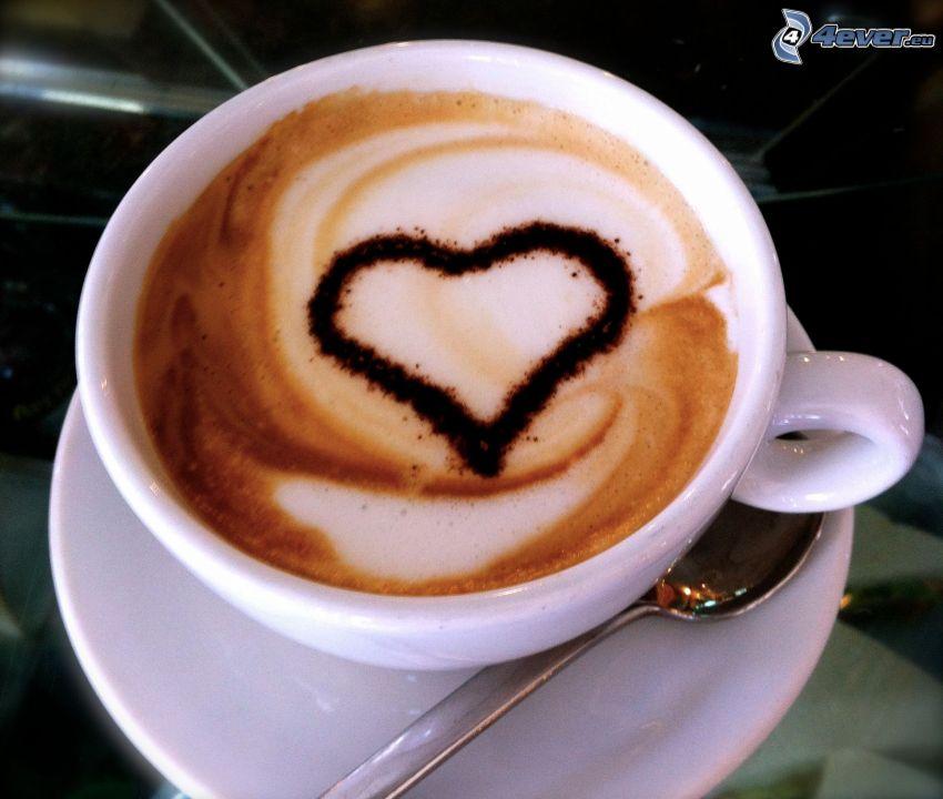 cappuccino, serduszko, piana, łyżeczka
