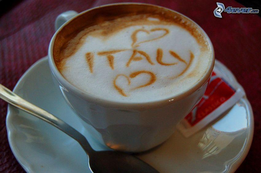 cappuccino, Włochy, piana, łyżeczka