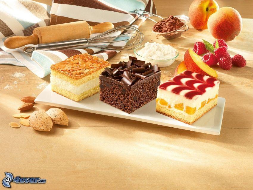 ciasta, maliny, kakao