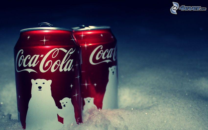 Coca Cola, puszki, niedźwiedzie polarne, śnieg