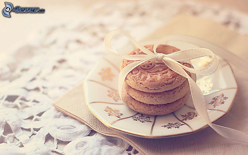 cookies, wstążka, talerz