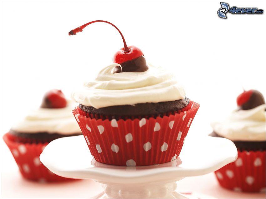 cupcakes, czereśnie